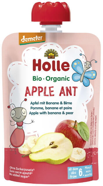 Holle Detské Bio pyré (kapsička) banán, jablko a hruška od 6 mesiaca