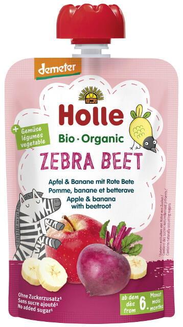 Holle Detské Bio pyré (kapsička) jablko, banán a červená repa od 6 mesiaca