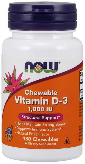 Vitamín D3 1000 IU cmúľací Now Foods | výživový doplnok | vitamín