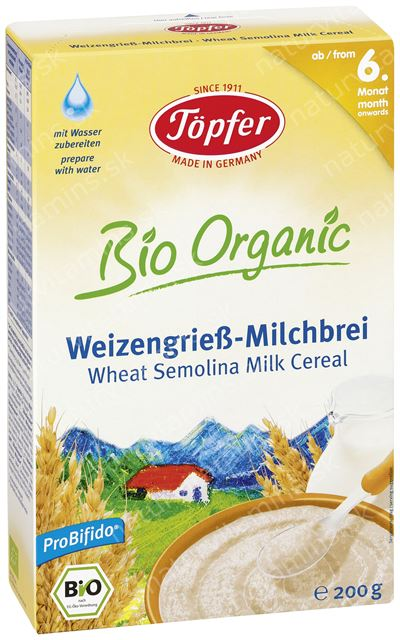 Detská BIO mliečna kaša zo semolinovej pšenice od 6. mesiaca Topfer