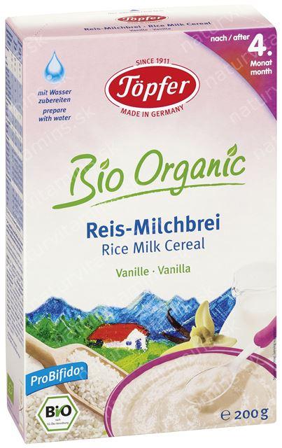 Detská BIO ryžová mliečna kaša s vanilkou od 4. mesiaca Topfer