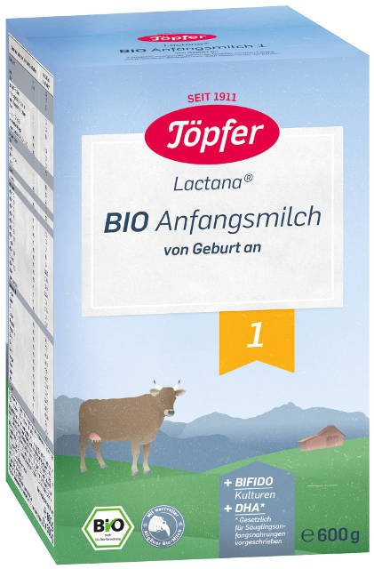 Topfer Bio Lactana 1 počiatočné dojčenské mlieko, výživa od narodenia