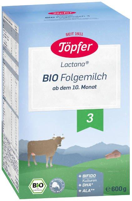 Topfer Bio Lactana 3 následné dojčenské mlieko, výživa od 10. mesiaca