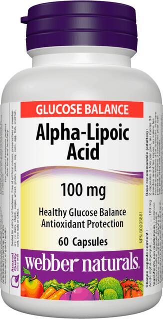 Alfa-lipoová-kyselina 100 mg (ALA) Webber Naturals | výživový doplnok | vitamín