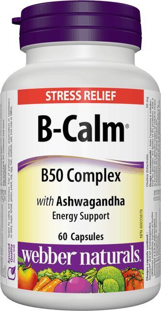 B-Calm B-komplex 50 mg s ašvagandou Webber Naturals | výživový doplnok | vitamín