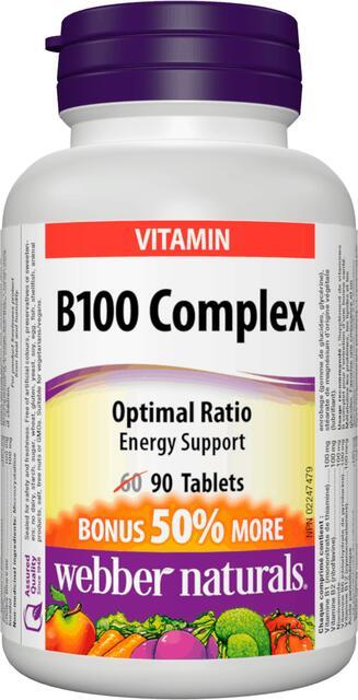B-Komplex 100 mg Webber Naturals Bonus | výživový doplnok | vitamín
