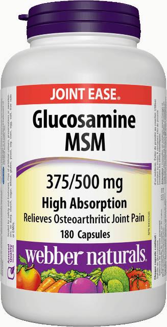 Glukosamín, MSM 375/500 mg Webber Naturals   výživový doplnok   vitamín