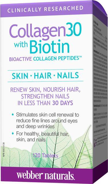 Kolagén30 I a III s biotínom, biologicky aktívnymi kolagénovými peptidmi Webber Naturals | výživový doplnok | vitamín