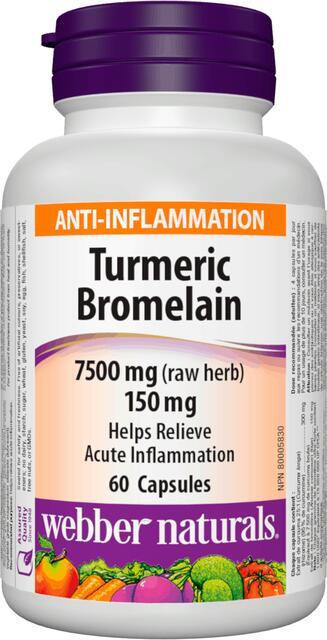 Kurkuma, Bromelaín 7,500 mg/150 mg Webber Naturals | výživový doplnok | vitamín
