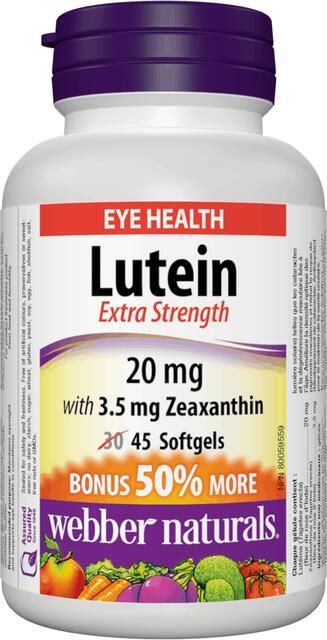 Luteín 20 mg, Zeaxantín 3.5 mg FORTE Webber Naturals | výživový doplnok | vitamín