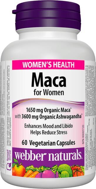 Maka pre ženy 1650 mg + Ashwagandha Webber Naturals   výživový doplnok   vitamín