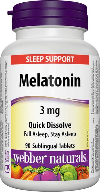 Melatonin 3 mg Webber Naturals | výživový doplnok | vitamín