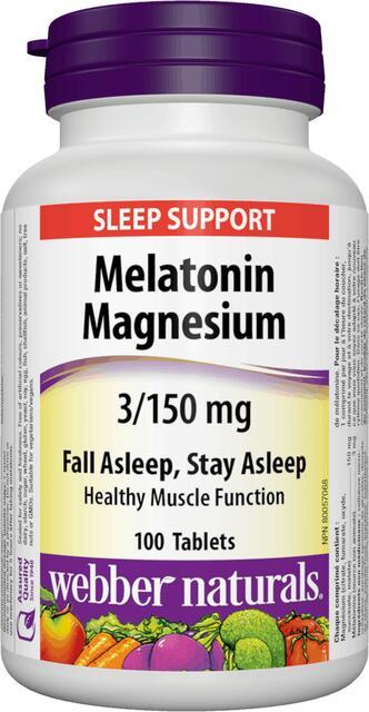 Melatonin, Horčík 3/150 mg Webber Naturals   výživový doplnok   vitamín