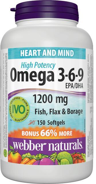 Omega 3-6-9 vysoká účinnosť 1200 mg Bonus Webber Naturals | výživový doplnok | vitamín