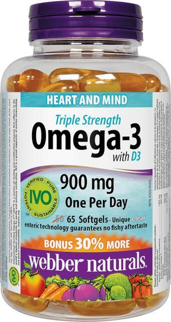 Omega-3 trojitá sila s vitamínom D3 Webber Naturals | výživový doplnok | vitamín