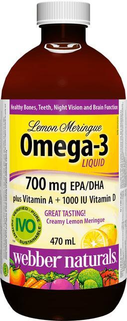Omega-3 + vitamín A a D s príchuťou citróna Webber Naturals | výživový doplnok | vitamín