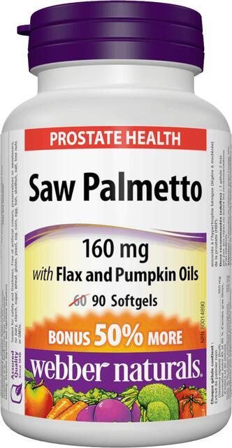 Saw Palmetto (Prostata) 160 mg, ľanový a tekvicový olej Webber Naturals | výživový doplnok | vitamín