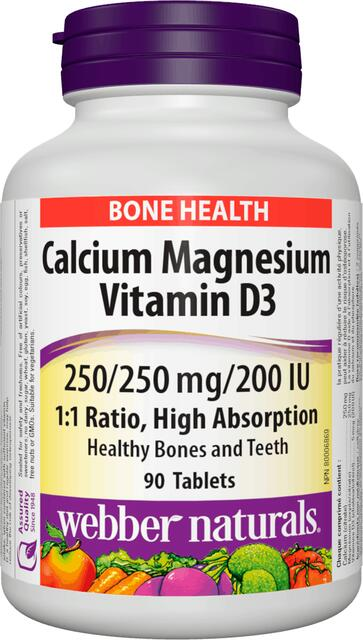 Calcium (Vápnik), Horčík a Vitamín D3 pomer 1:1 Webber Naturals | výživový doplnok | vitamín