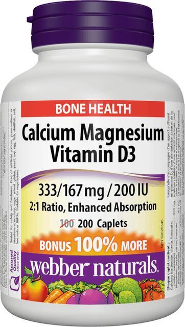 Vápnik (Calcium), Horčík a Vitamín D3 BONUS Webber Naturals | výživový doplnok | vitamín