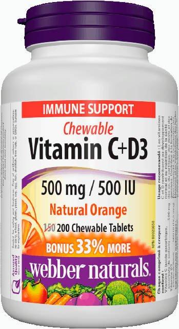 Vitamín C + D3, cmúľajúci Webber Naturals | výživový doplnok | vitamín