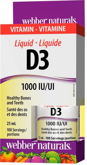 Vitamín D3 1000 IU kvapky Webber Naturals | výživový doplnok | vitamín