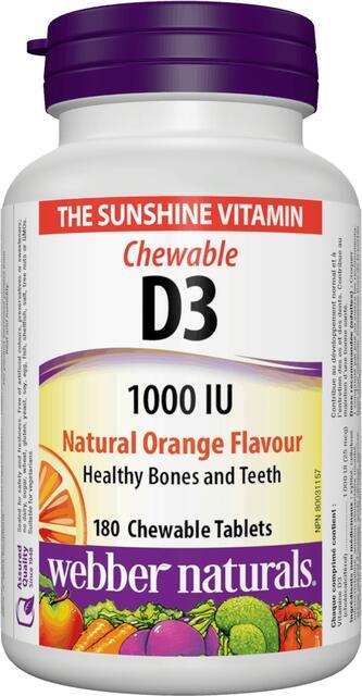 Vitamín D3 1000 IU cmúľací Webber Naturals | výživový doplnok | vitamín