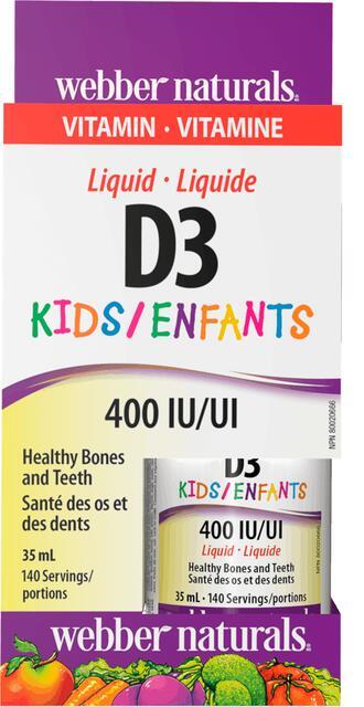 Vitamín D3 400 IU kvapky pre deti a dospelých Webber Naturals | výživový doplnok | vitamín