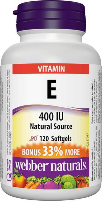 Vitamín E 400 IU BONUS Prírodný zdroj Webber Naturals   výživový doplnok   vitamín