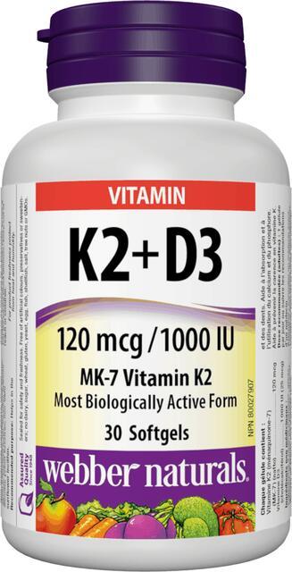 Vitamín K2 (MK-7) + D3 Webber Naturals | výživový doplnok | vitamín